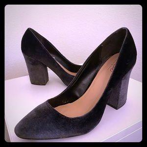 Blue gray velvet chunky heel